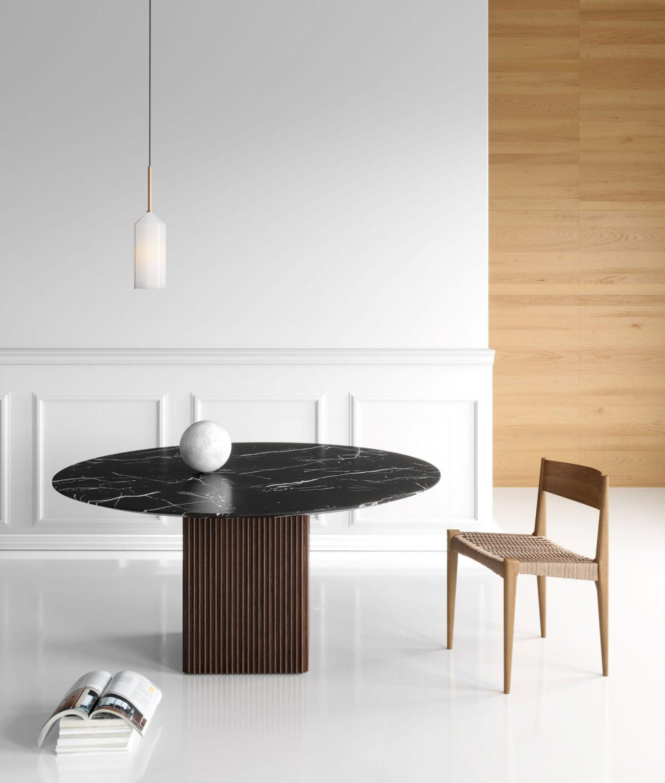 Table de salle à manger en marbre Ten (ronde) par DK3 1